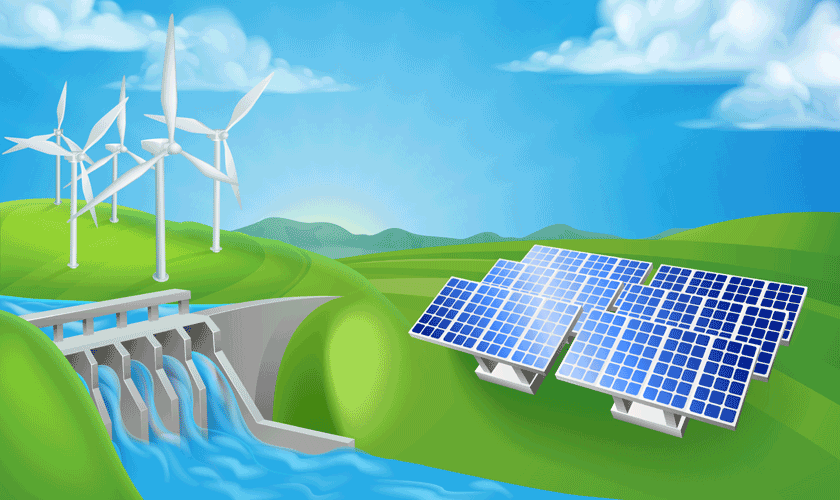 Energías renovables: solar, eólica e hidráulica.